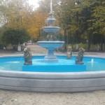Пробный запуск фонтана центральной площади парка