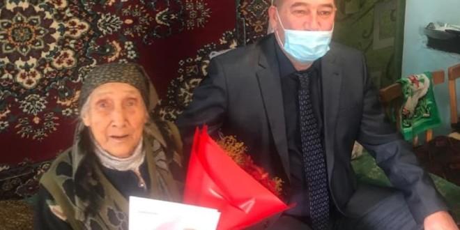 Сегодня 90-летний юбилей отмечает труженица тыла, жительница аула Эркен-Халк Союнова Ажретхан Муссаевна.
